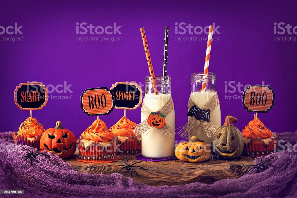 Cupcakes for halloween party stock photo