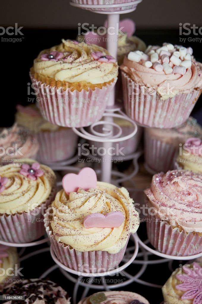 cupcakes on cake stand stock photo
