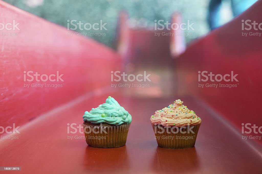 Cupcakes on the slide royalty-free stock photo