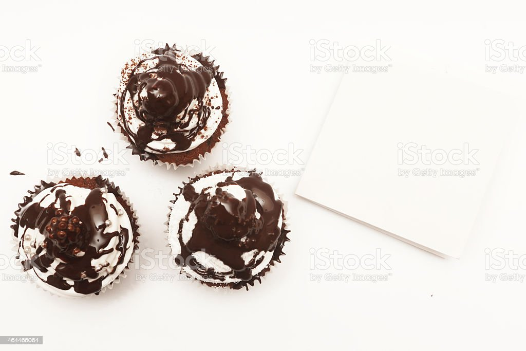 Cupcakes with blank card stock photo