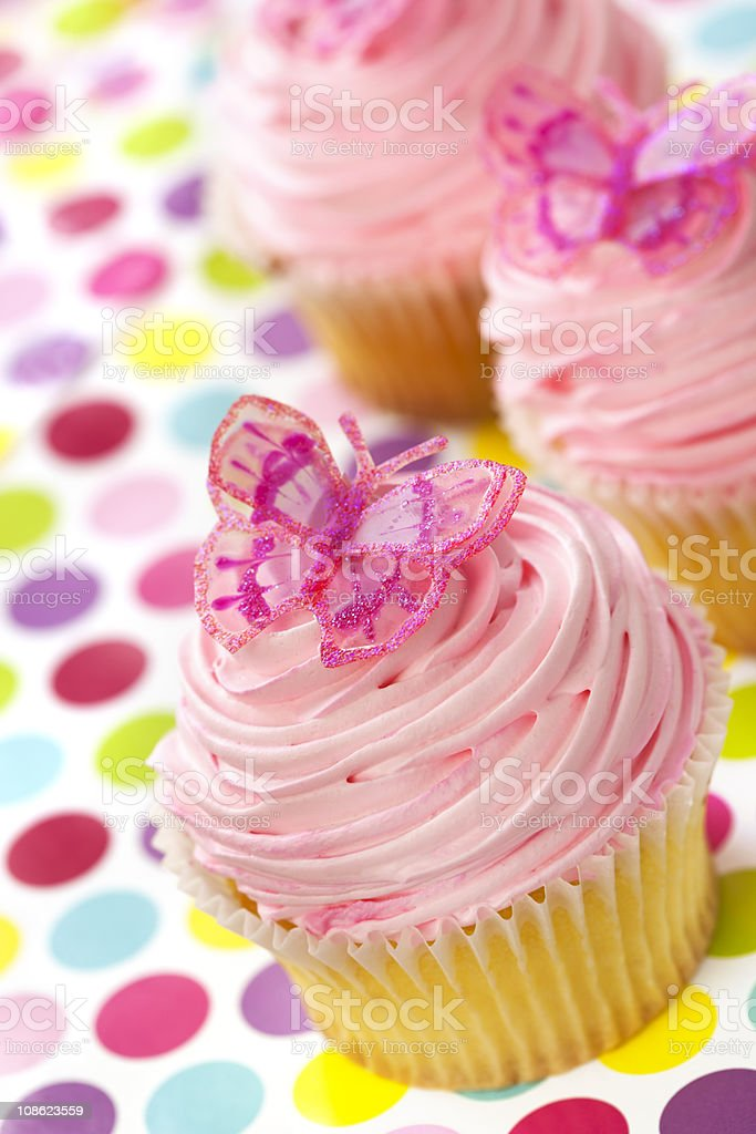 Cupcakes with Butterflies royalty-free stock photo