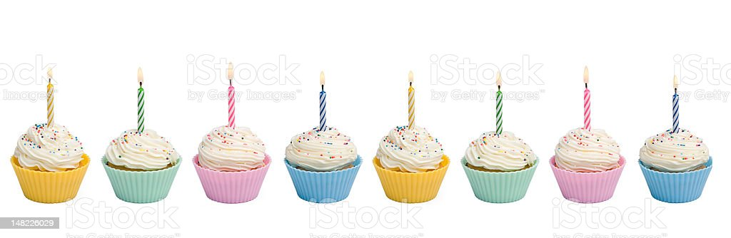 Cupcakes With Candle Border royalty-free stock photo