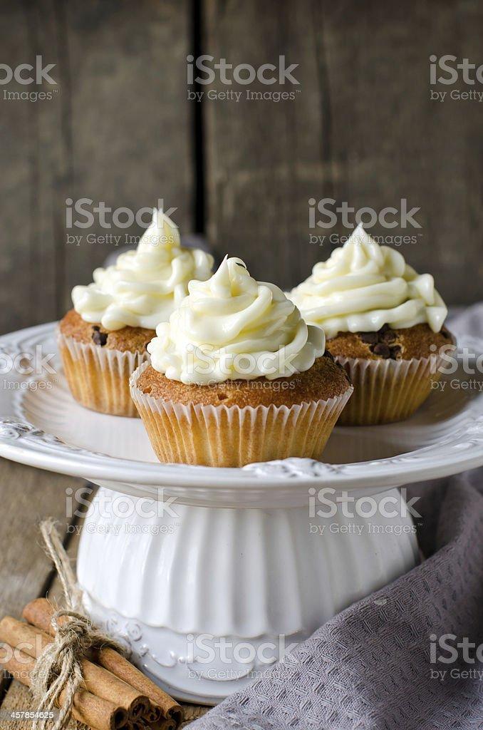Cupcakes with cream cheese stock photo