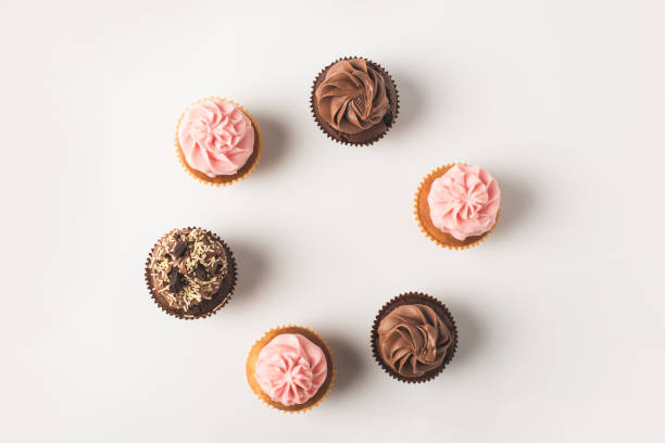 cupcakes with frosting stock photo