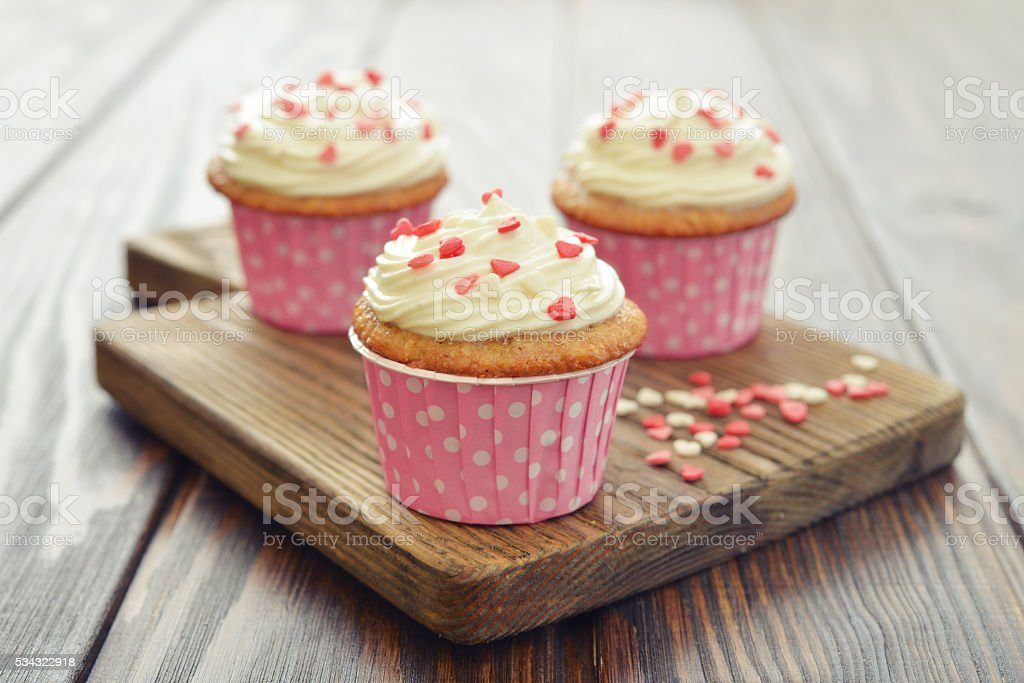Cupcakes with icing stock photo