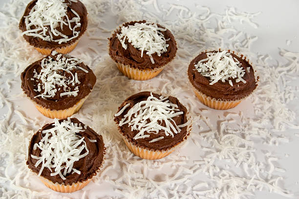Cupcakes with Shredded Coconut Decoration stock photo