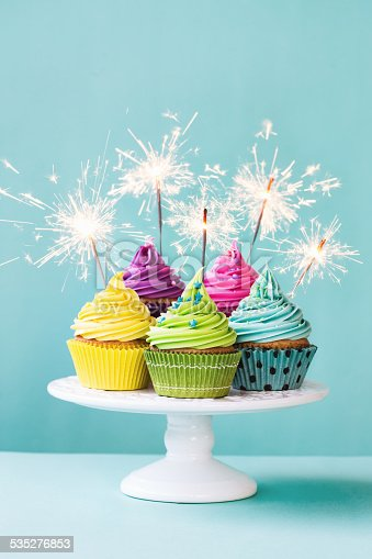 Cupcakes With Sparklers Stock Photo Amp More Pictures Of