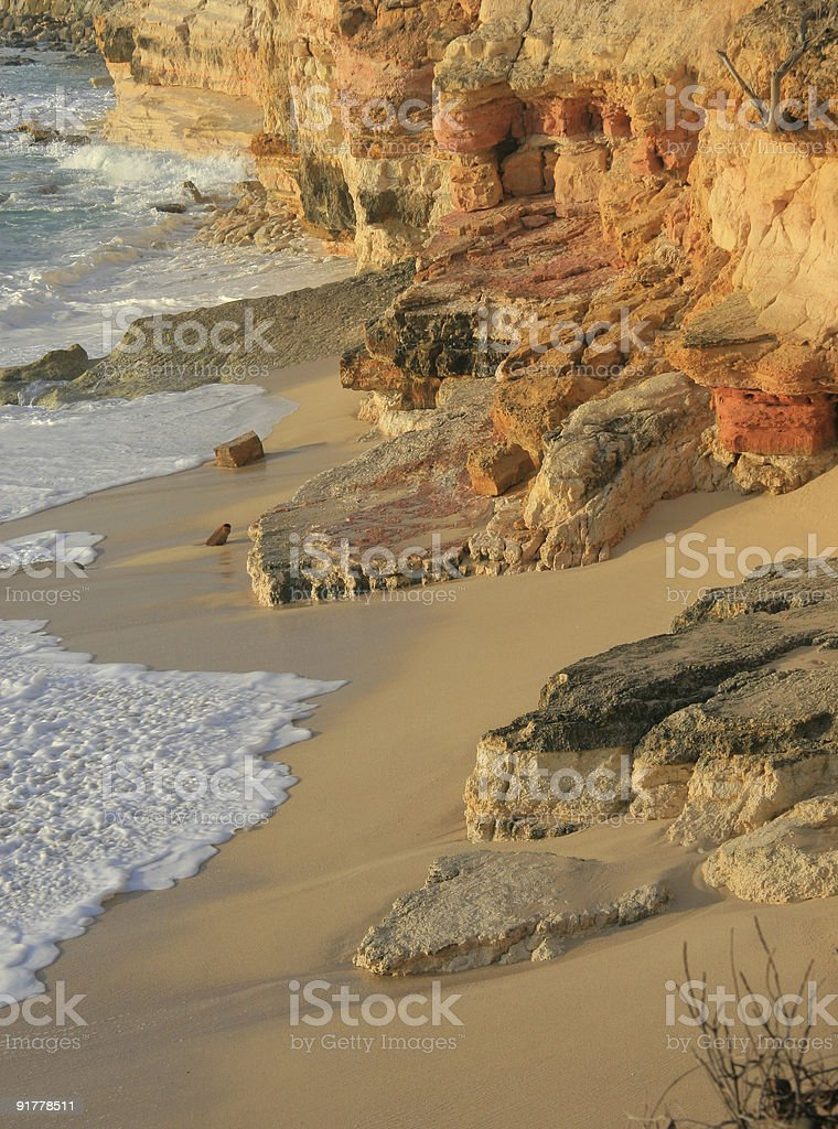 Cupecoy Beach Cliffs stock photo