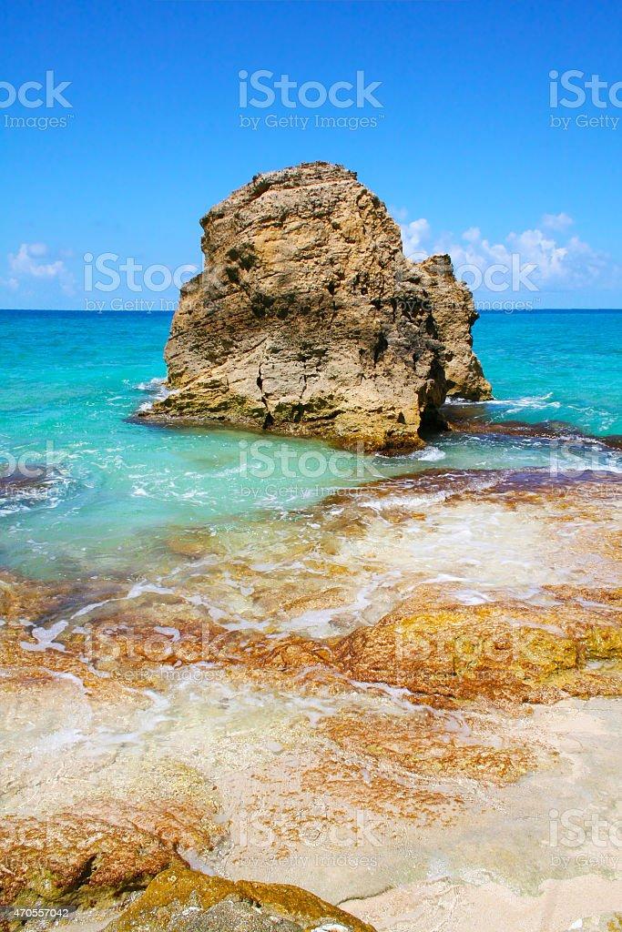 Cupecoy Beach on Sint Maarten - Dutch Antilles Caribbean stock photo