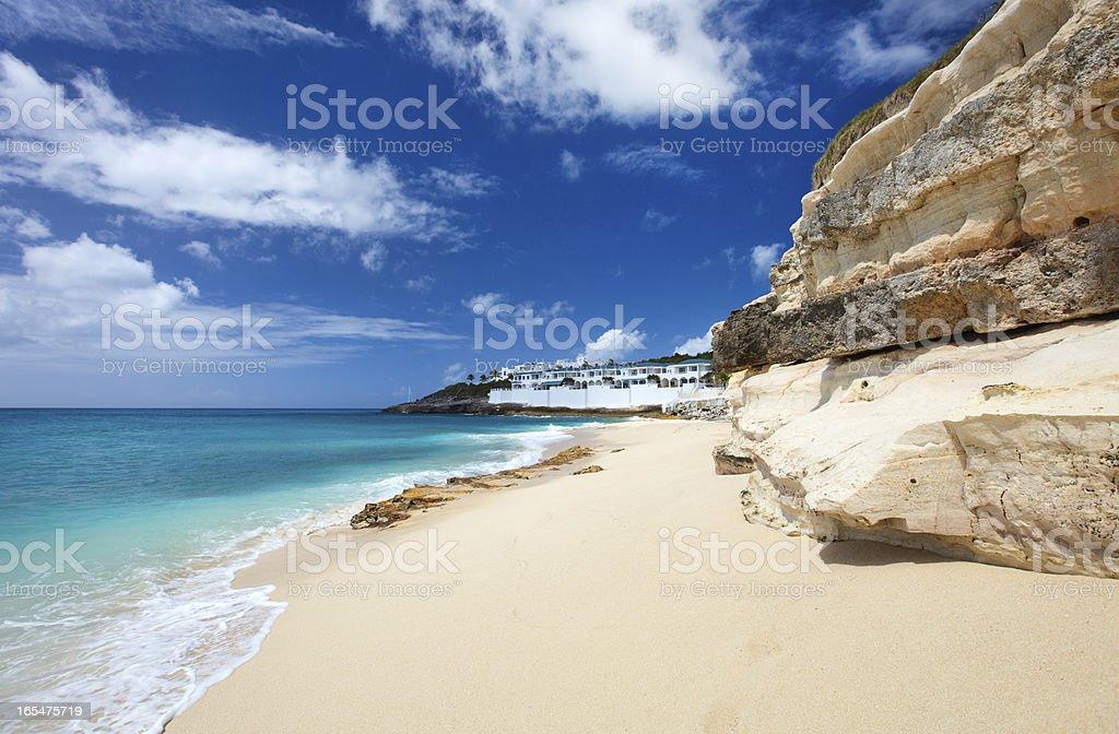 Cupecoy Beach on St Martin Caribbean stock photo