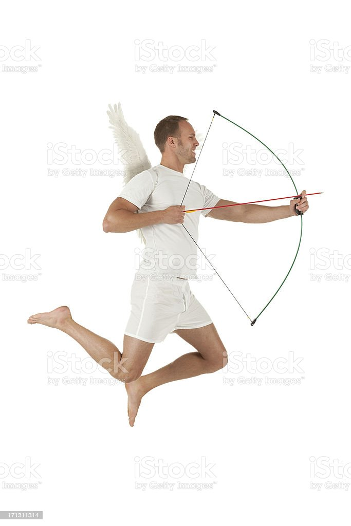 Cupid aiming with a bow and arrow stock photo