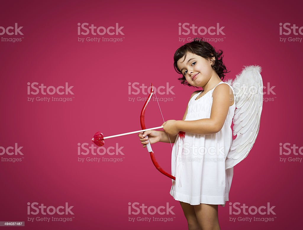 cupid little girl stock photo