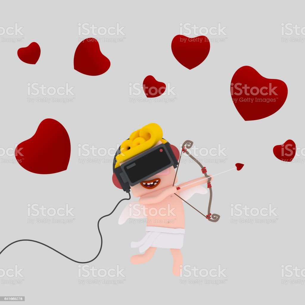 Cupid with virtual reality set stock photo
