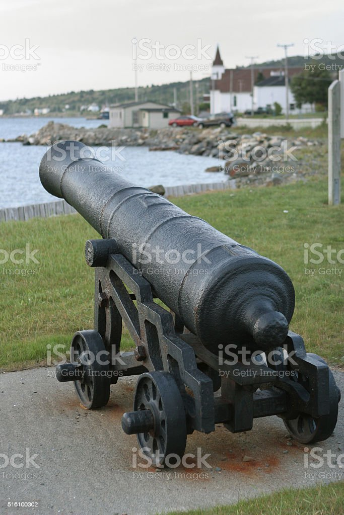 Cupids town cannon pointed Conception Bay Newfoundland church stock photo