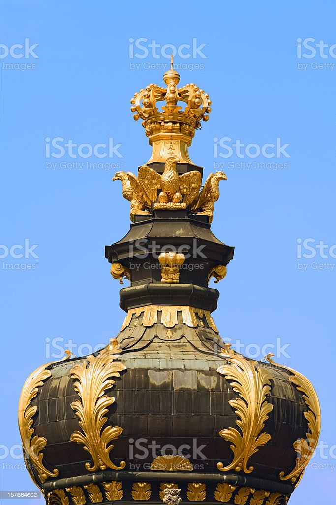 Cupola and crown of Kronentor Zwinger Dresden stock photo
