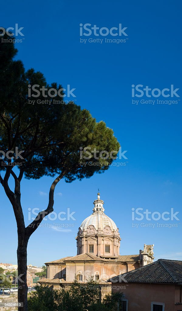 Cupola and pine trees, Rome royalty-free stock photo