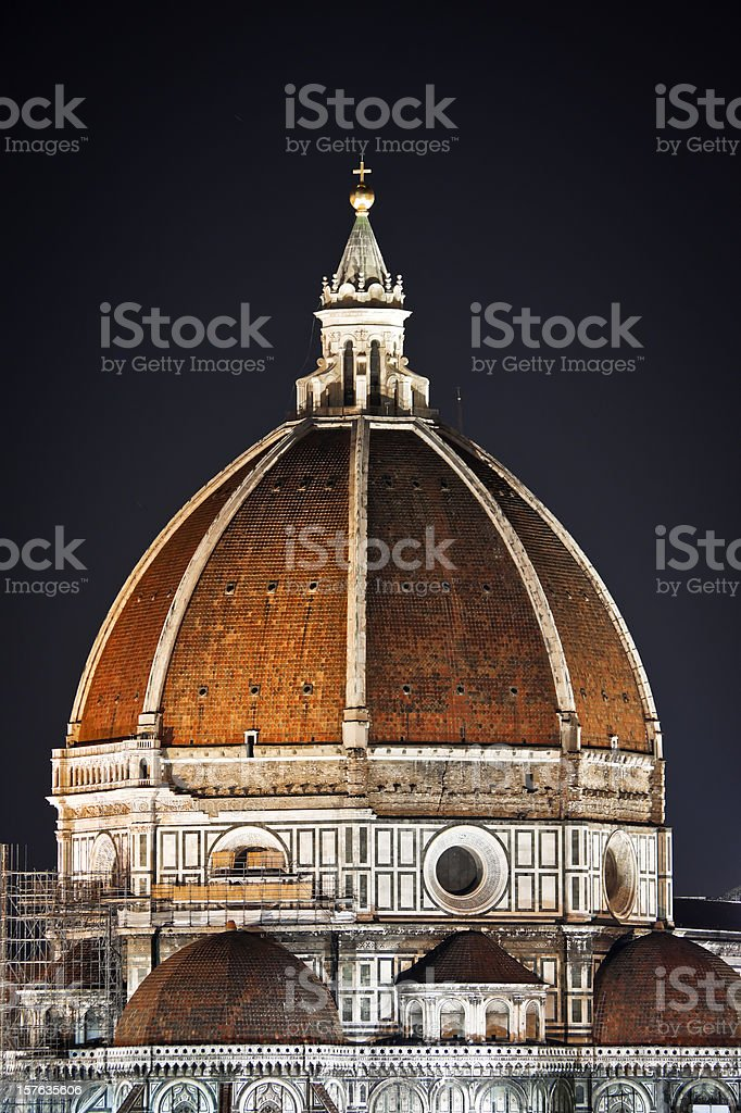 Cupola del Duomo at Night, Italian Renaissance Architecture stock photo