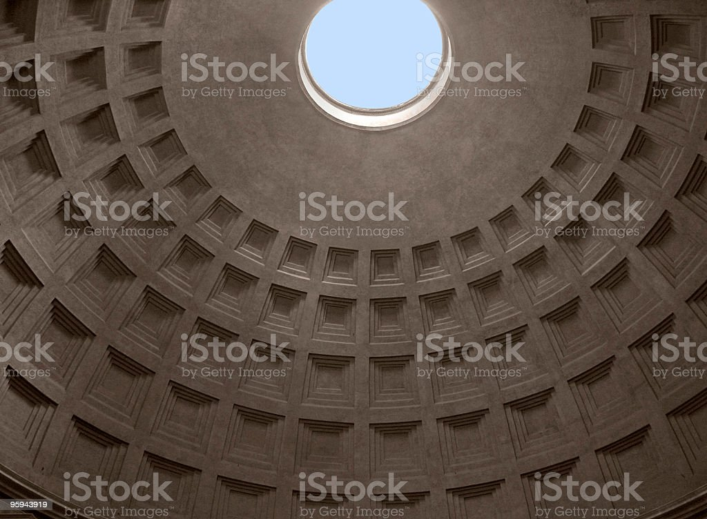 cupola inside of the Pantheon stock photo