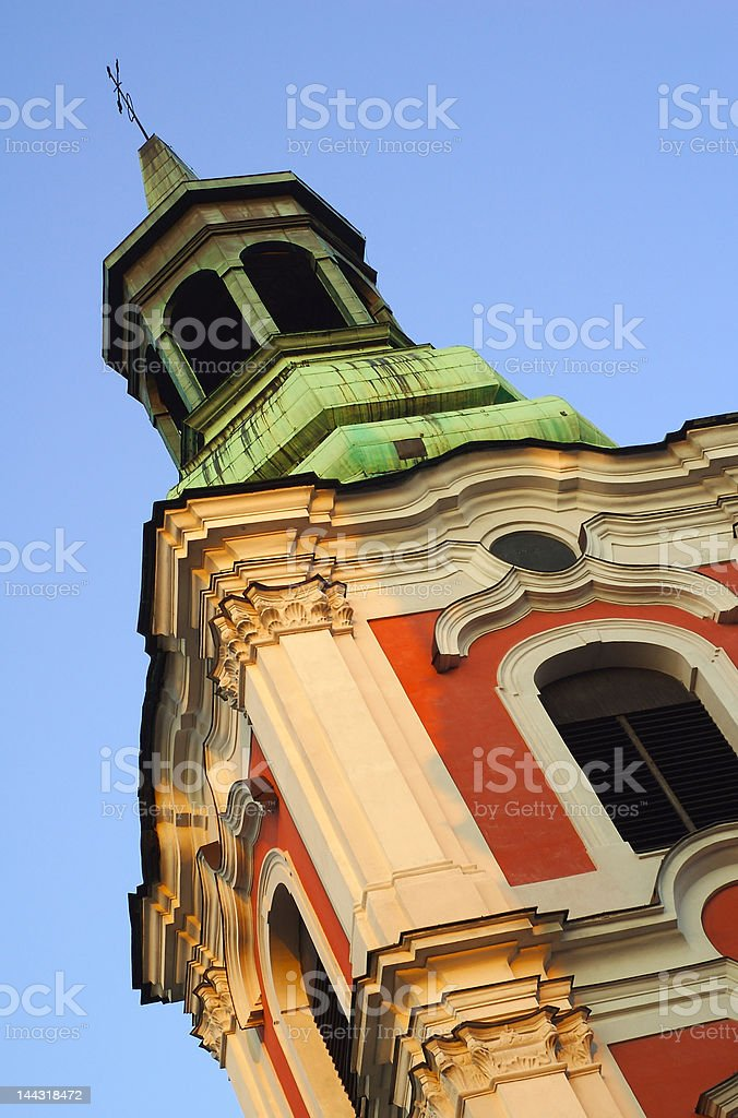 Cupola of St Stanislaus Parish Church royalty-free stock photo