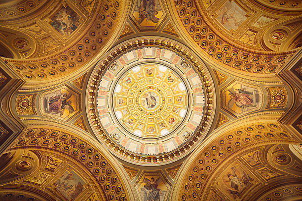 cupola of st. stephen's basilica - cupola stock pictures, royalty-free photos & images