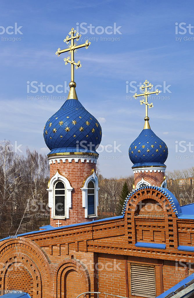 Cupolas of Russian orthodox church royalty-free stock photo
