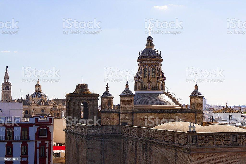 Cupola's view of the Iglesia de la Anunciacion, Seville. stock photo