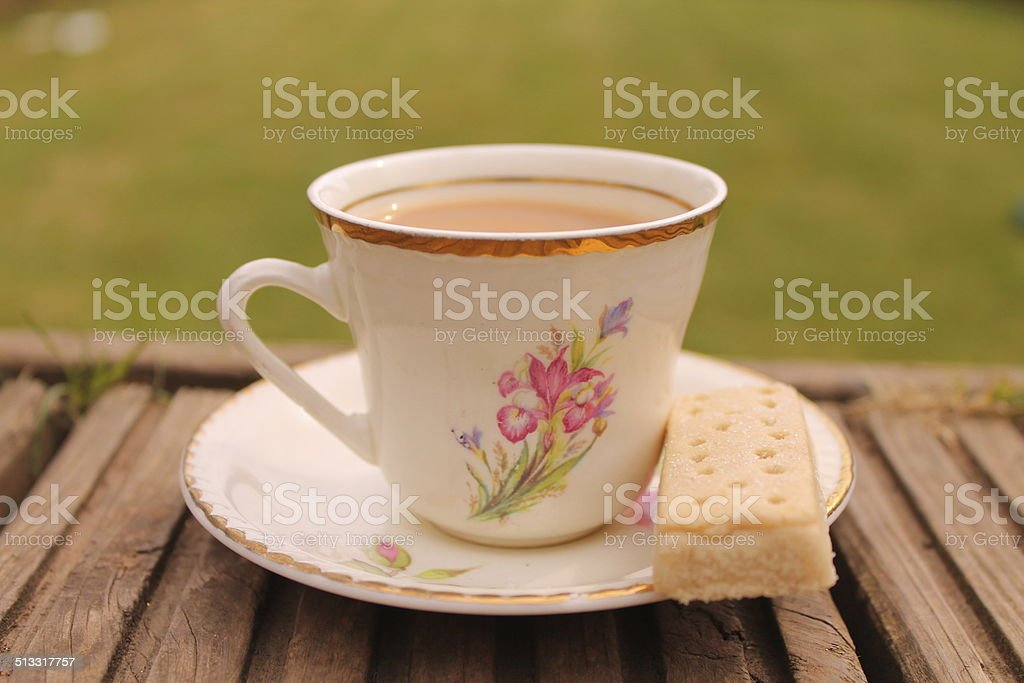 Cuppa in the garden stock photo