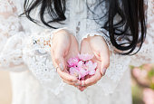 Cupped hands holding spring flowers in heart shape