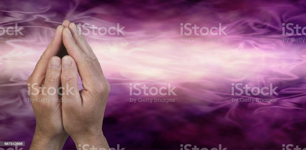 Cupped Hands in Prayer Position stock photo
