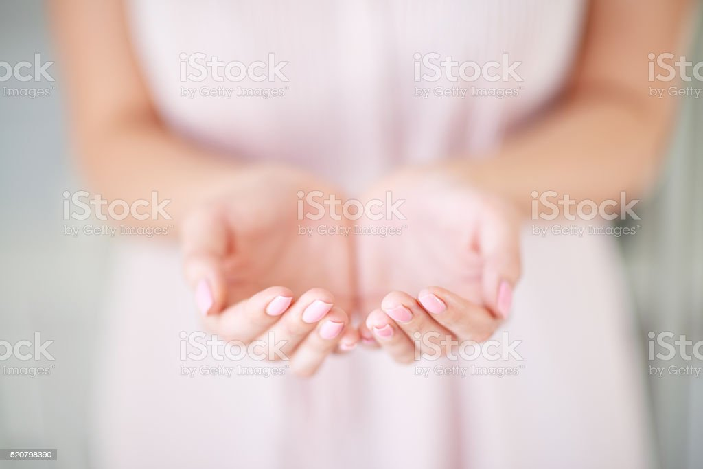 Cupped hands stock photo