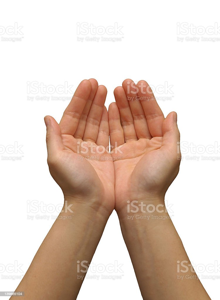 Cupping hand gesture royalty-free stock photo