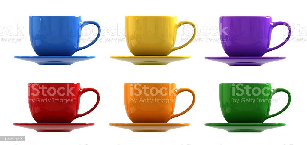 Cups and saucers stock photo