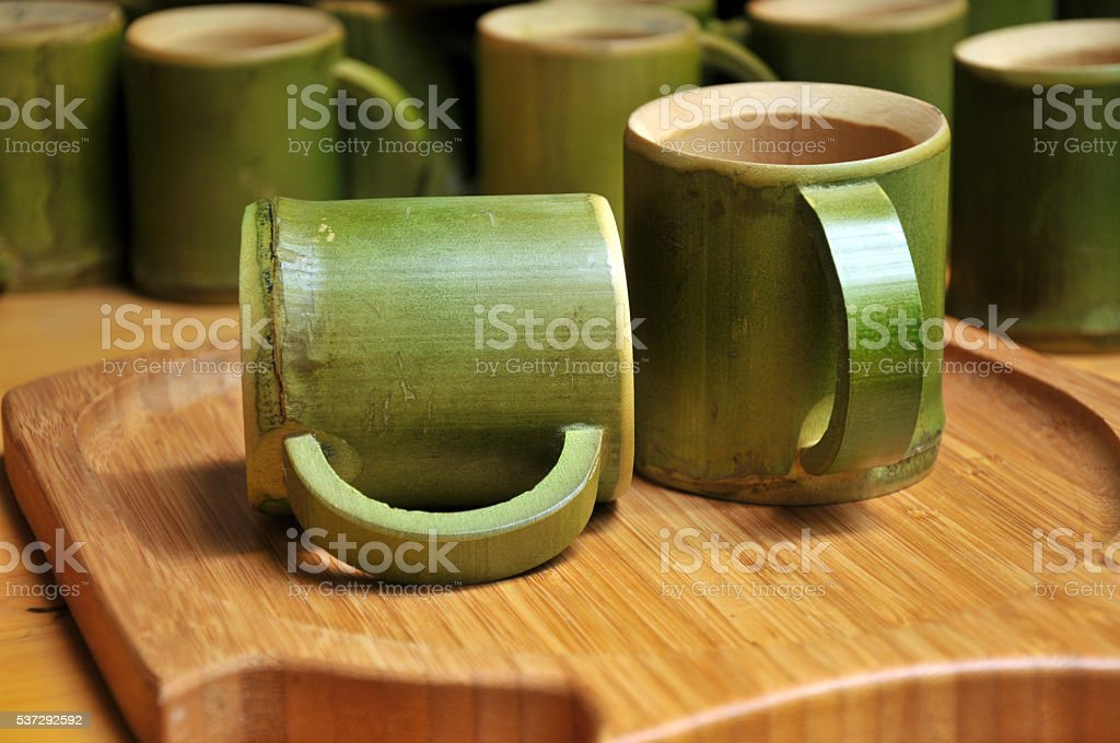 Cups made of bamboo for sale stock photo