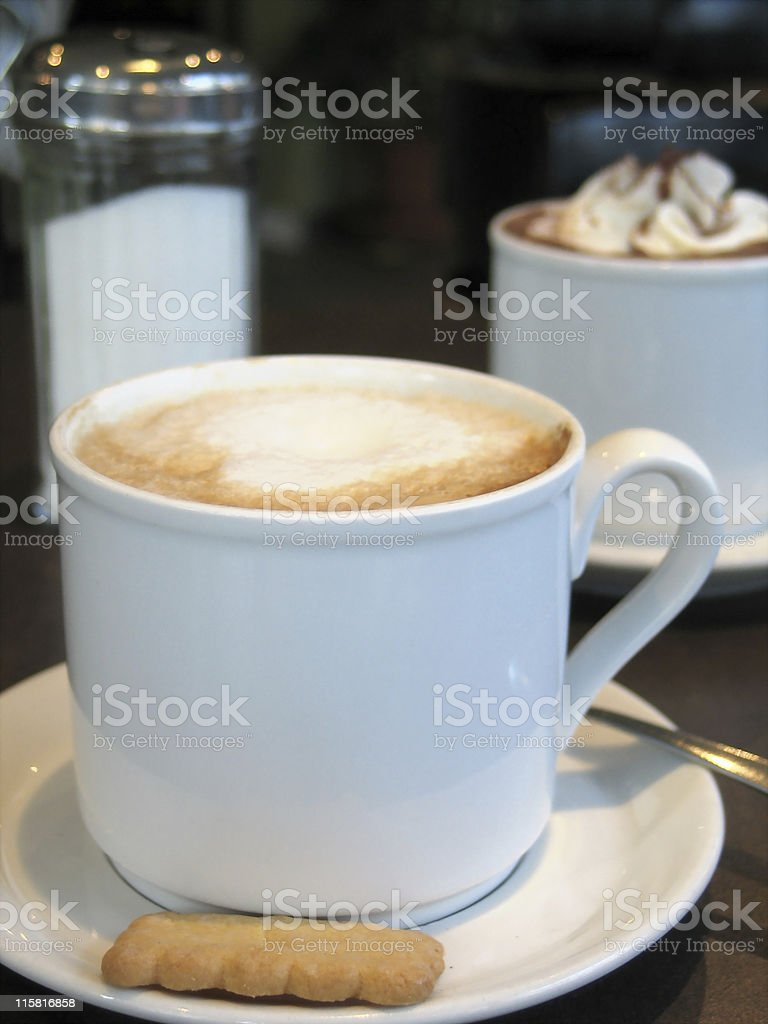 Cups of coffee and hot chocolate royalty-free stock photo