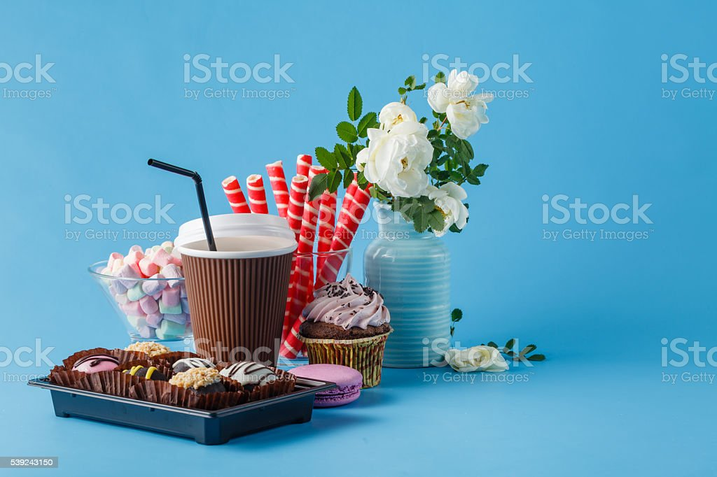 cups of coffee latte and cake royalty-free stock photo