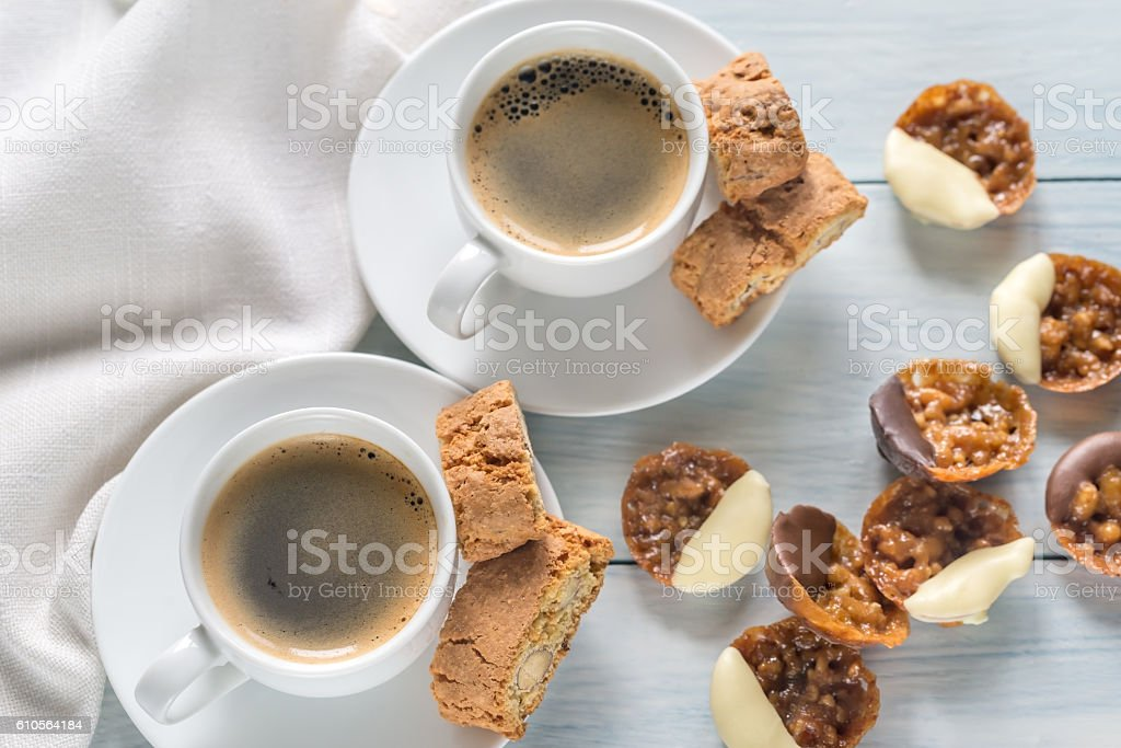 Cups of coffee with florentine cookies - Photo