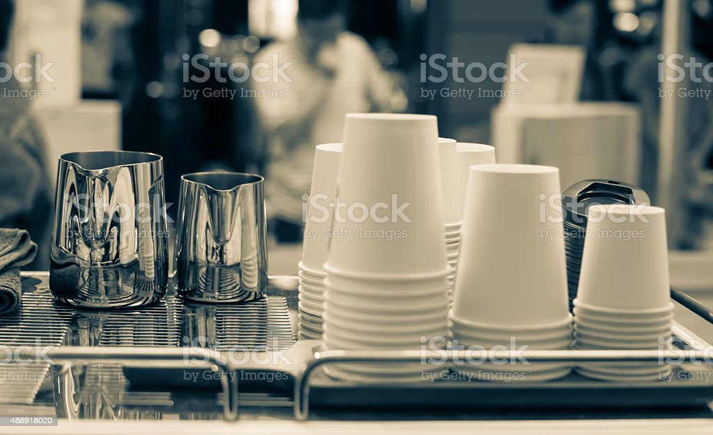Cups of different sizes on cafe stock photo