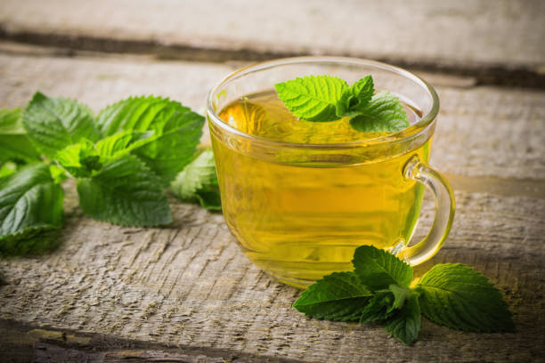 cups of tea with mint on wooden stock photo