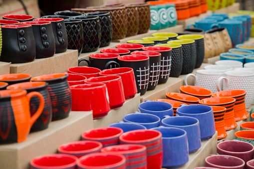 Cups on sale - Stock image