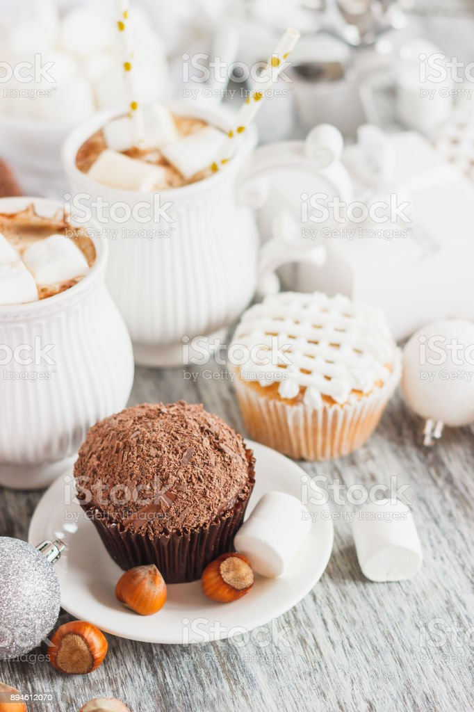 Cups With Cacao And Marshmallow Cupcakes And Different Christmas Decorations Wooden Background Stock Photo Download Image Now Istock