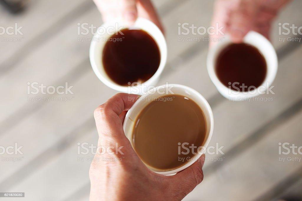 cups with cofee and tee royaltyfri bildbanksbilder