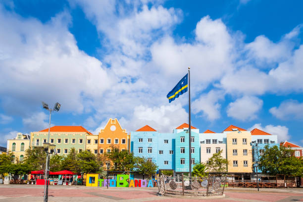 Curaçao flag waving in the Otrobanda district, Willemstad stock photo