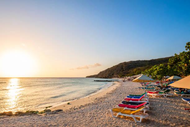 Curacao, Playa PortoMari at sunset stock photo