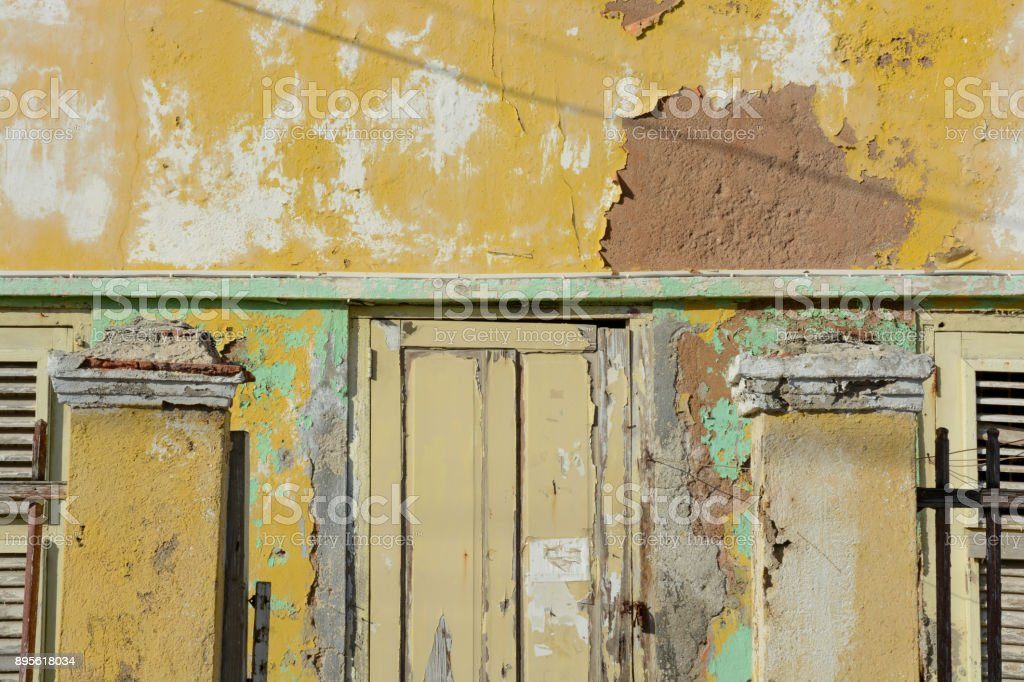 Colorful colonial building in Willemstad, the capital city the Dutch...