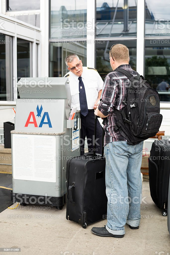 Curbside Check-in at the airport stock photo