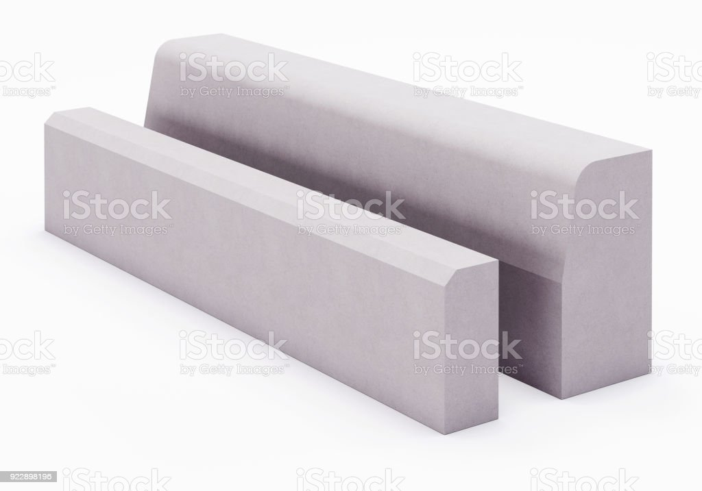 Curbstone on white background stock photo