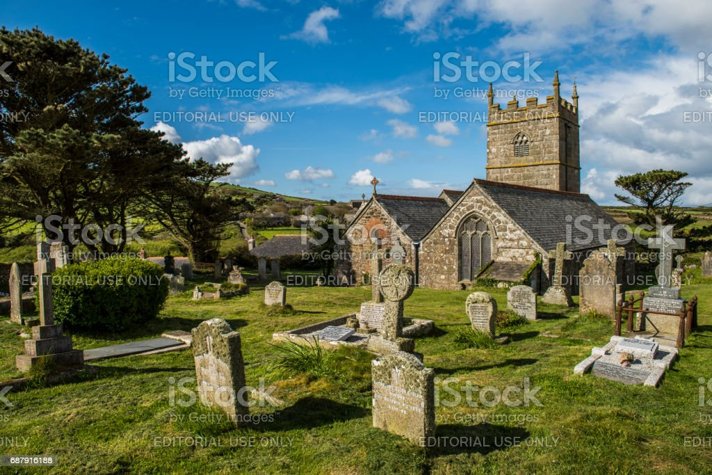Curch in Zennor stock photo