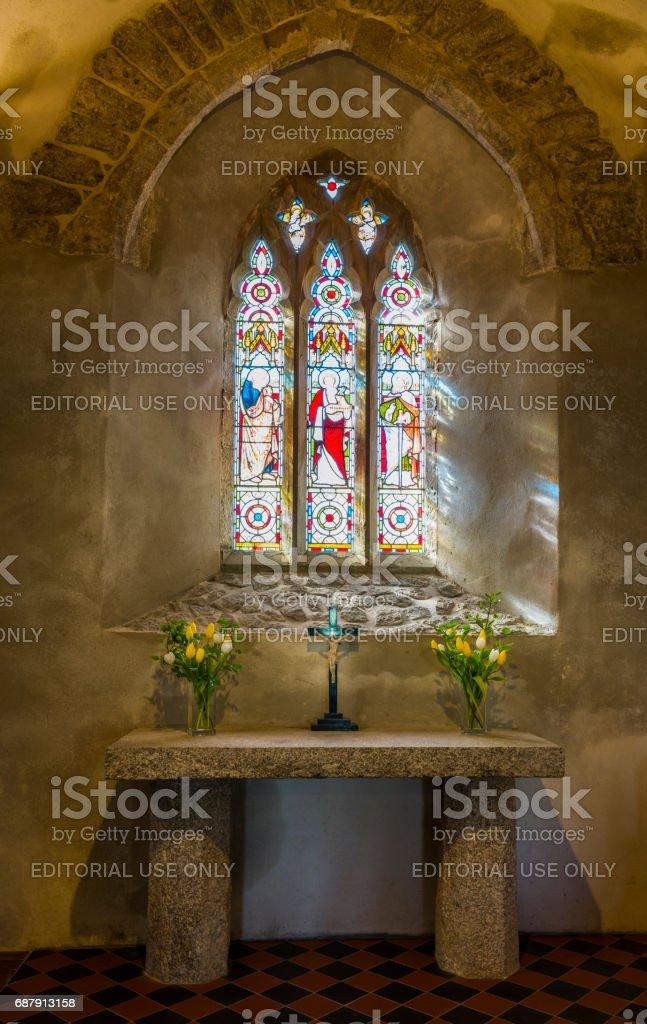 Curch Zennor Interior Cross stock photo