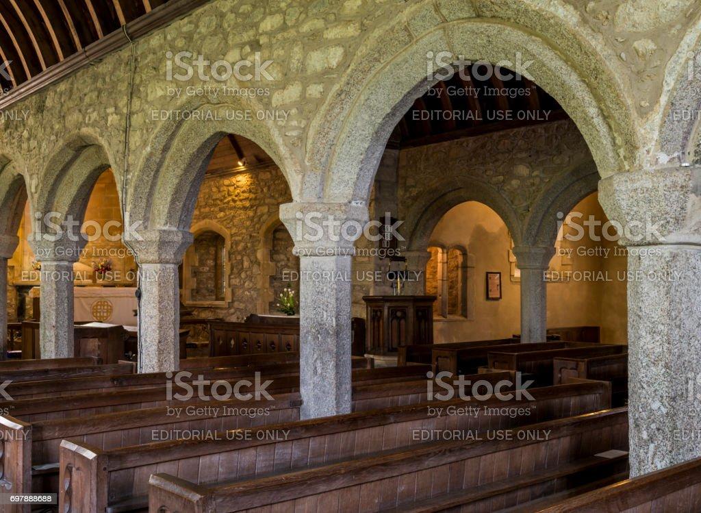 Curch Zennor Interior Pillars stock photo