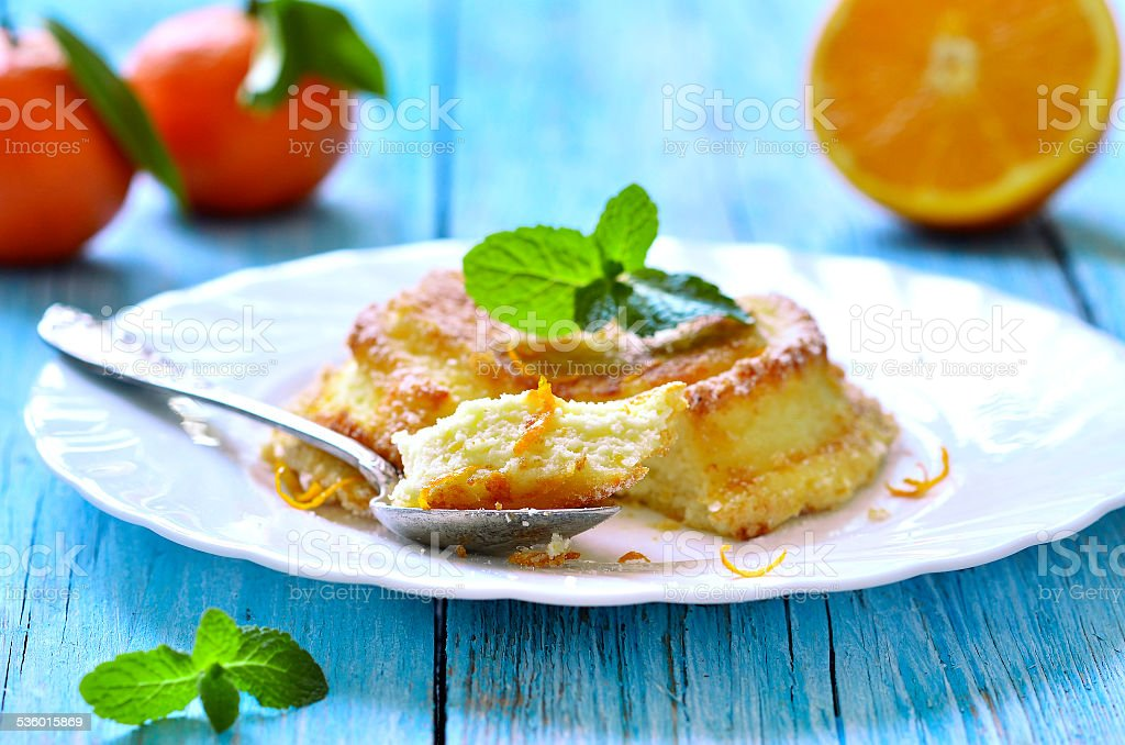 Curd souffle with orange and vanilla. stock photo